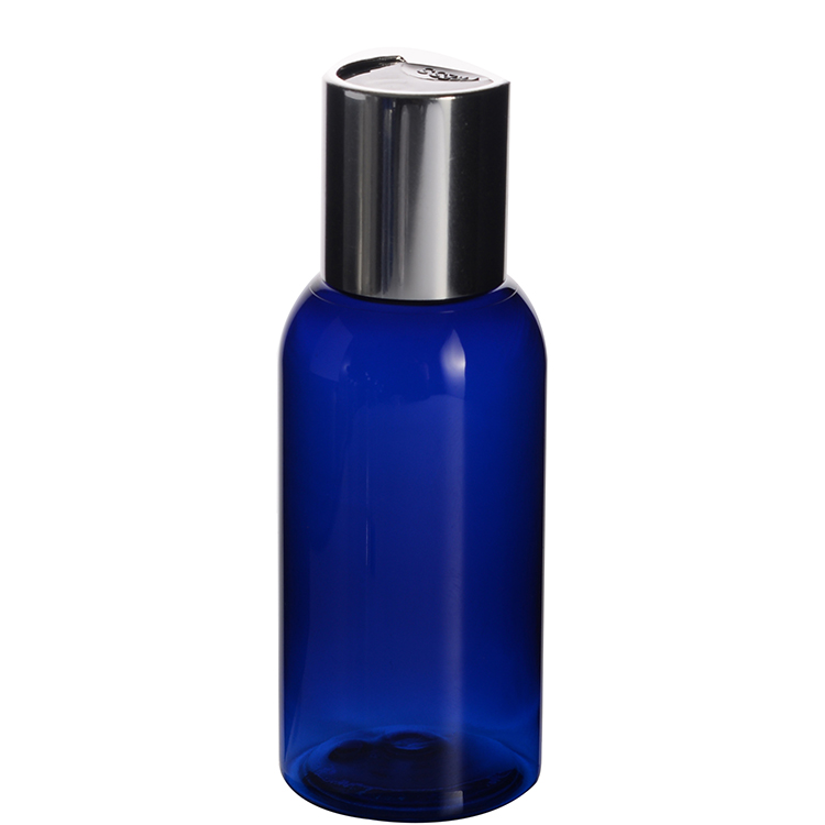 50ml Plastic Boston Round Cobalt Blue Bottle with Disc Cap